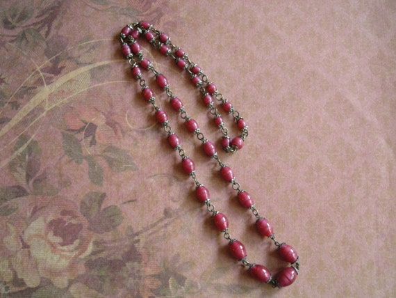 Antique 1920s Czech Satin Raspberry Glass Beads Ne