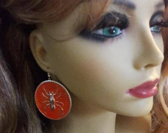 B-1B...  Vintage retro orange spider round disk earrings
