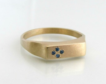 Yellow Gold Ring, Sapphire Ring, Birthstone Ring, Unique Engagement Ring, 14k Gold Ring, September Birthstone, Signet Ring, Stacking Rings