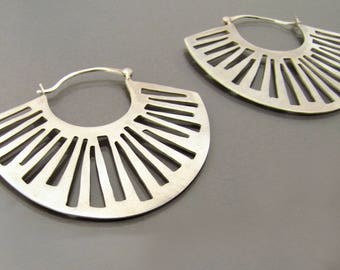 Statement Earrings, Silver Hoop Earrings, Bohemian Earrings, Big Silver Earrings, Sterling Silver Hoop Earrings, silver tribal earrings