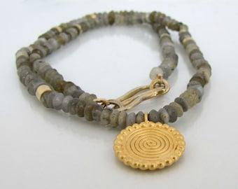 gold spiral, labradorite necklace, 14k gold pendant, gold necklace, artisan necklace, handmade necklace, gemstone necklace, solid gold