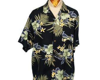 19b4268d Tommy Bahama 100% Silk Hawaiian Resort Camp Shirt sz Large Buttons Black  Floral