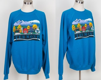 vintage 1989 Vermont Green Mountains Barn Covered Bridge turquoise Sweater sz XL