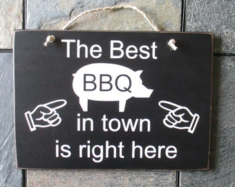 The Best BBQ in Town is Right Here Wood Sign, BBQ Decor, Barbeque Master Sign, Kitchen Decor, Gift for Dad, Grilling Sign, Gift for Him