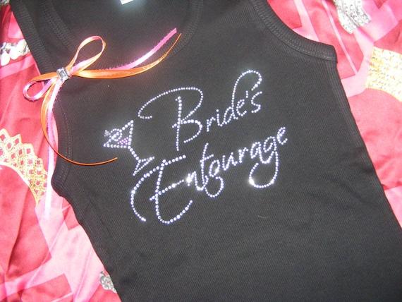 BRIDE/'S ENTOURAGE  Rhinestone iron on transfer new BRIDAL BACHLORETTE PARTY