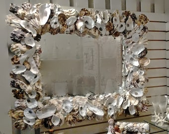 Large MIRROR OYSTER SEASHELL Decorative Coastal Living Or Dining Room Hall  Wall Bathroom Beach Art Unique Mirror