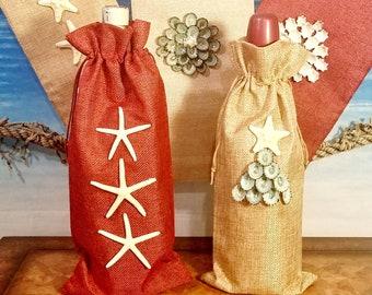 WINE BAG Beach Burlap Oil & Vinegar Bottle Holder Nautical Wine Beach Lover Red and Natural Hemp Drawstring Christmas Gift Wedding Favor