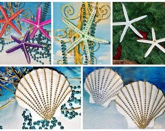 Large AUTHENTIC Rhinestone STARFISH or SCALLOP Shell Christmas Ornament Gift Boho Mobile Coastal Beach Wedding Tree Topper Hang Photo Prop