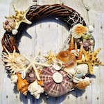 Coastal Beach Decor Seashell Wreath Starfish Wall or Door Wreath Wedding and Photo Shoot Prop Supplies Accessory