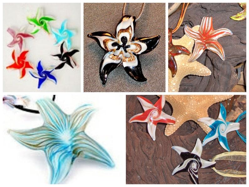 Coastal Inspired Beach LARGE STARFISH Glass Pendant Jewelry  image 0