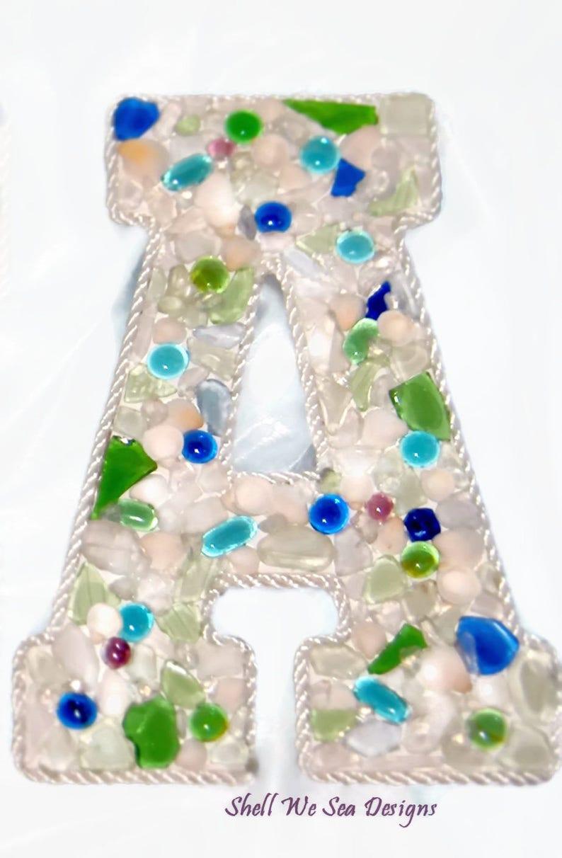 Sea Glass Letters  Made To Order Custom  Coastal Beach Decor image 0