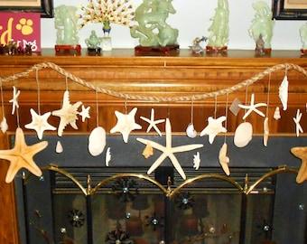 Large Starfish, Capri, Scallop, Seashells Hanging Rope Garland Mantle Swag Wall Door Window Curtain Decoration- Coastal Beach Decor Photo