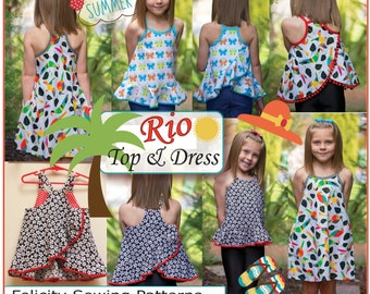 Sewing pattern for girls dress & top Rio Top and Dress sizes 4 to 14 with 5 style options Felicity Sewing Patterns