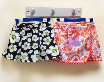 The Suzie Skort/Shorts pdf sewing pattern for girls 2 to 14 years, girls shorts/skort sewing pattern with two versions included
