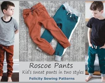 Children's fleece pants sewing pattern ROSCOE PANTS boys pants pattern sizes 2 to 12 years. Children's pdf sewing pattern