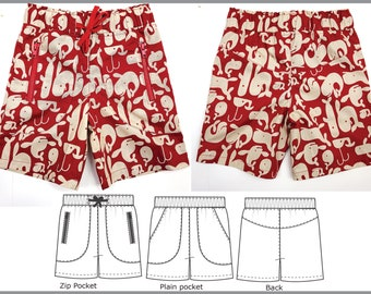 Boys pdf sewing pattern for beach shorts and long pants, MANGO Shorts & Longies in sizes 2 to 12 years, suit boys and girls.