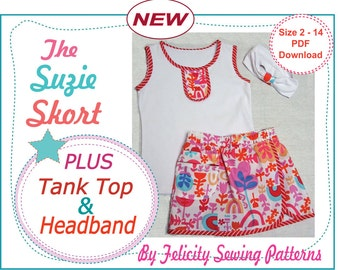 1f4242873a1 Sewing pattern for the Suzie Skort   Tank Top 2 pattern deal
