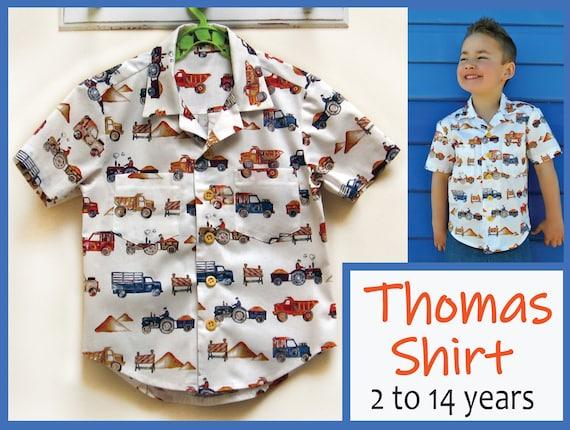 Boy's Hawaiian shirt sewing pattern for kids 2-14 years. | Etsy