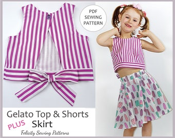 PDF Sewing Pattern for Girls Summer Top, Shorts and Skirt. GELATO Top & Shorts Pattern, Toddler - Girls Sizes 2 - 10 Years