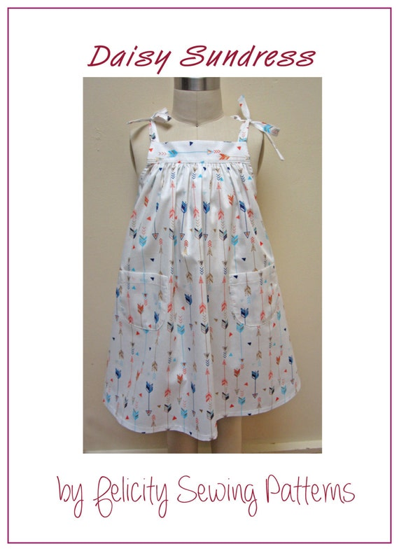 Girls Dress Sewing Pattern Daisy Sundress Digital Etsy Adorable Children's Clothing Patterns
