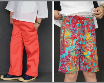 Fun summer shorts and long pants pdf sewing pattern for kids, MANGO Shorts & Longies sizes 2 to 12 years, suit boys and girls.