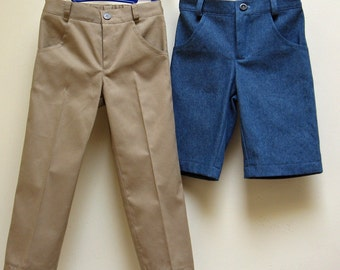 Boy's casual trousers sewing pattern Slim Jim Pants pdf sewing pattern, boys trouser & shorts sizes 2-12 years, kid's pdf sewing patterns.