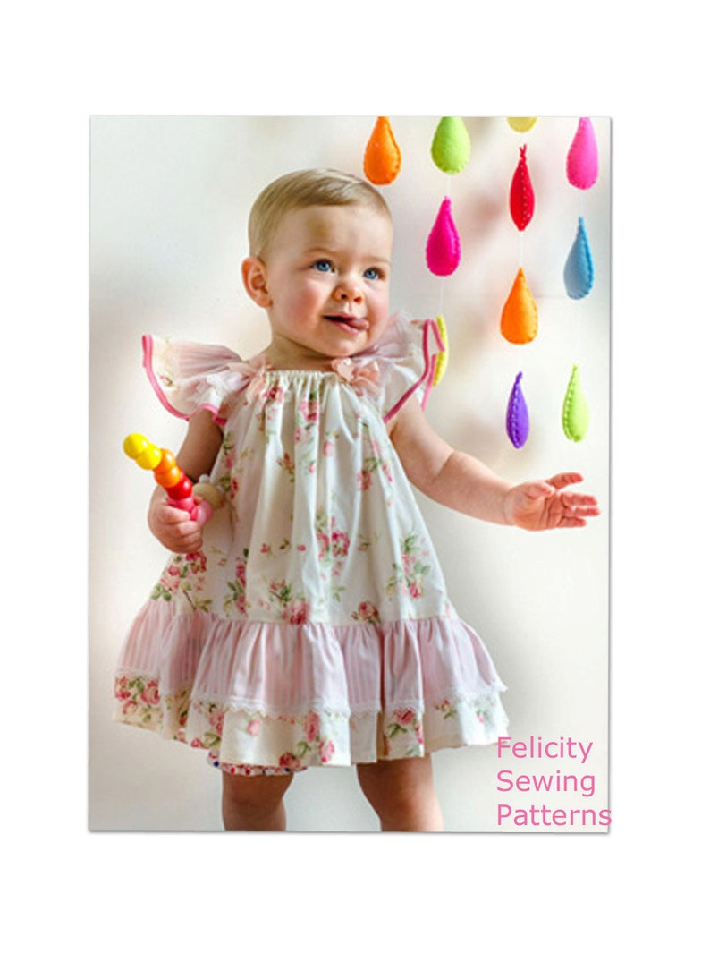 0cc52fd9ebb80 Baby girls dress sewing pattern, pdf sewing pattern sizes 6-9 months to 10  years the BUTTERFLY DRESS by Felicity Patterns