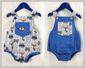 Baby boy romper pdf sewing pattern, DIMPLES reversible toddler and baby romper/sun suit sizes 3+ months to 3 years