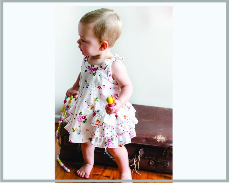 Baby girls dress and diaper cover sewing pattern  SUNNY DRESS image 0