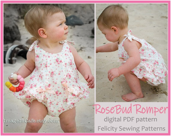 44913f5c720 Baby girl s ruffled romper RoseBud Baby Romper pdf sewing
