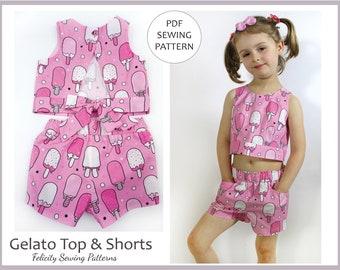 Girls Summer Top and Shorts PDF Sewing Pattern, Plus Bonus Skirt Pattern, Sizes 2 to 10 Years, GELATO Top & Shorts