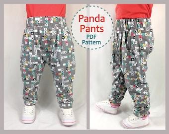Sewing pattern for babies and toddler harem pants, PANDA Pants digital pdf sewing pattern sizes 3+ months to 6 years