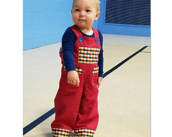 Baby boy and toddler romper/overalls pdf sewing pattern Ollie Overalls sizes 3+months to 4 years