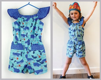 Girl's playsuit sewing pattern Peachy Dress & Playsuit includes 5 variations sizes 2 - 14 years. dresses rompers tops pants