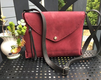 Dark pink raspberry red purple leather handstitched crossbody bag