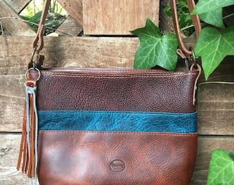 Brown and  blue teal shoulder bag