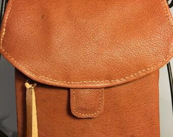 Caramel brown Italian goatskin cell phone pouch