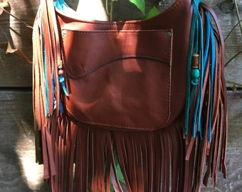 Brown deerskin fringebag teal beads