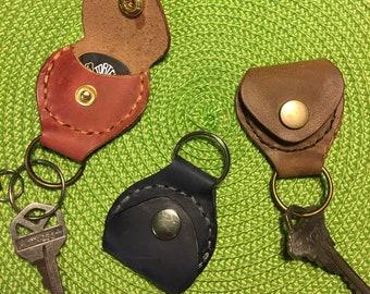 Leather key ring fob guitar pick holder