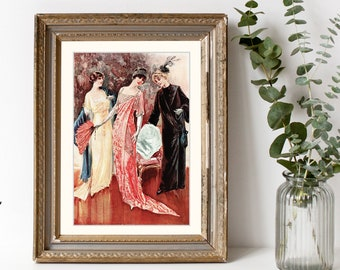 Digital Large Vintage 1910s Fashion Print Sewing Pattern Magazine 2 Page Set 1912 Delineator - Print at Home Decor - INSTANT DOWNLOAD