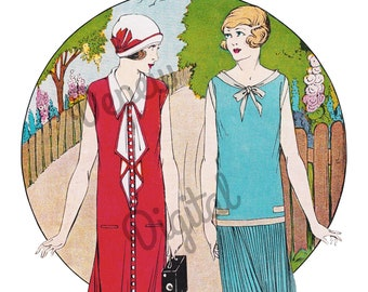 Digital Large Vintage 1920s French Flapper Fashion Clip Art - Print at Home Decor - INSTANT DOWNLOAD