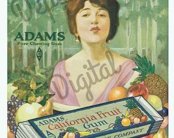 Digital Large Vintage Antique 1910s Adams California Fruit Gum Magazine Ad - Print at Home Decor - INSTANT DOWNLOAD