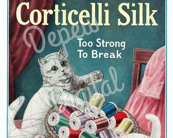 Digital Large Vintage 1910s Cat Thread Print Corticelli Silks Spool Sewing Magazine Page - Print at Home Decor - INSTANT DOWNLOAD