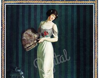 Digital Vintage 1910s Portrait Print Delineator Magazine Cover November 1912 - Print at Home Decor - INSTANT DOWNLOAD