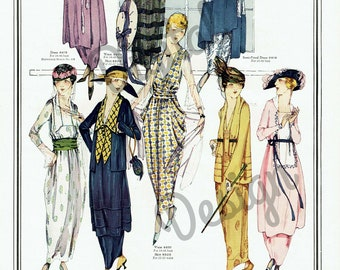 Digital Large Vintage 1910s Color Fashion Print Sewing Pattern Magazine Page McCall - Print at Home Decor - INSTANT DOWNLOAD