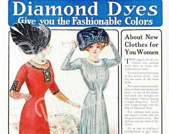 Digital Large Vintage Antique 1910s Fashion Print Sewing Pattern Diamond Dyes Magazine Ad - Print at Home Decor - INSTANT DOWNLOAD