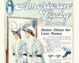 Digital Vintage 1900s Fashion Print American lady Shoe Ad 1905 - Print at Home Decor - INSTANT DOWNLOAD