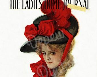 Digital Vintage 1900s Woman Portrait Print Ladies' Home Journal Magazine Cover 1907 - Print at Home Decor - INSTANT DOWNLOAD
