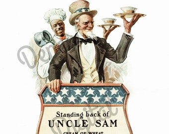Digital Large Vintage Antique 1910s Cream of Wheat uncle Sam Magazine Ad - Print at Home Decor - INSTANT DOWNLOAD