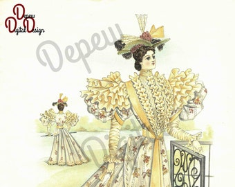 Digital Large Vintage Antique 1890s Fashion Print Sewing Pattern Magazine Ad - Print at Home Decor - INSTANT DOWNLOAD